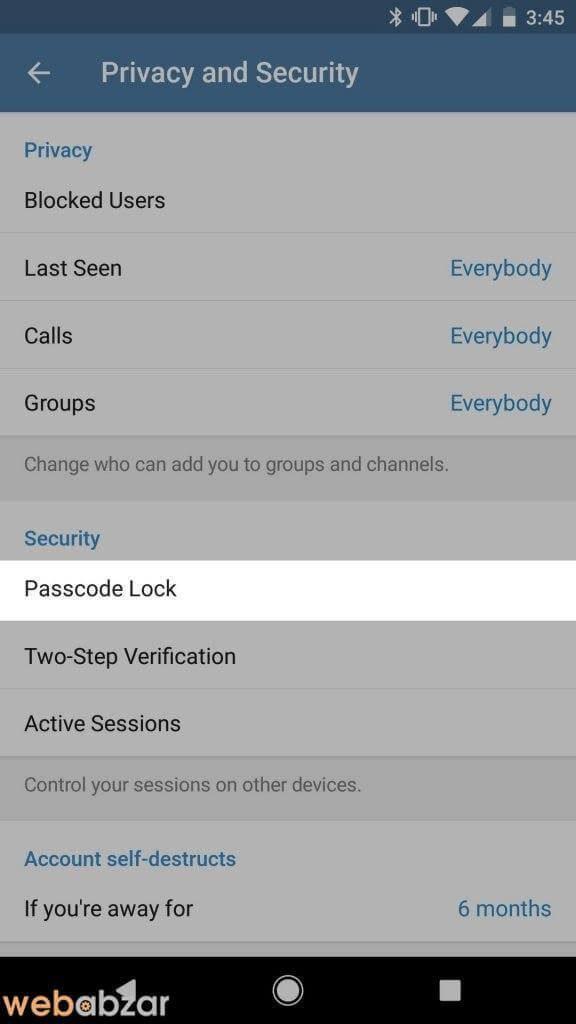 امن کردن تلگرام