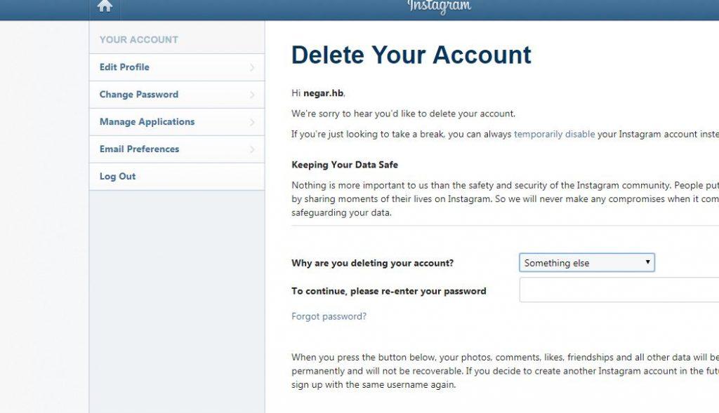 آموزش حذف و غیرفعال سازی دائمی اکانت اینستاگرام صفحه حذف اکانت
